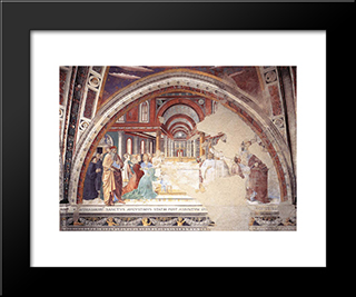 Blessing Of The Faithful At Hippo:  Modern Black Framed Art Print by Benozzo Gozzoli