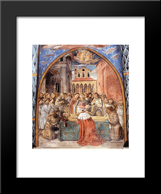 Death And Ascention Of St. Francis:  Modern Black Framed Art Print by Benozzo Gozzoli