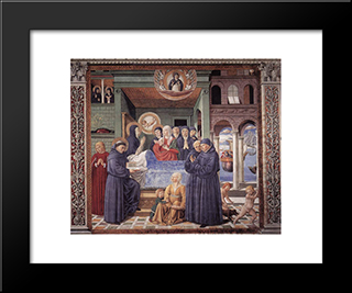 Death Of St. Monica:  Modern Black Framed Art Print by Benozzo Gozzoli