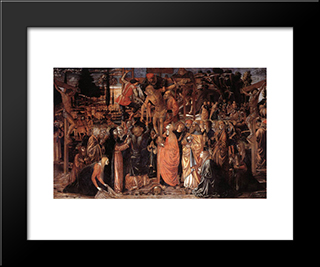 Descent From The Cross:  Modern Black Framed Art Print by Benozzo Gozzoli
