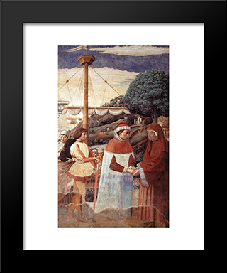 Disembarkation At Ostia:  Modern Black Framed Art Print by Benozzo Gozzoli
