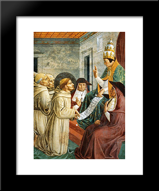 Dream Of Innocent Iii And The Confirmation Of The Rule (Detail):  Modern Black Framed Art Print by Benozzo Gozzoli