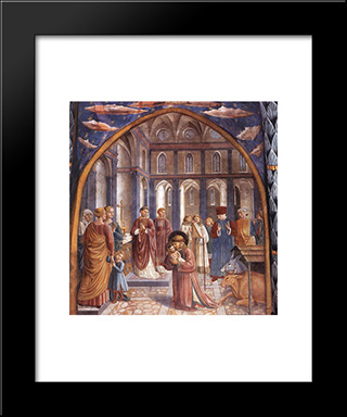 Establishment Of The Manger At Greccio:  Modern Black Framed Art Print by Benozzo Gozzoli