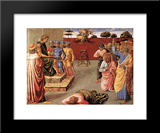 Fall Of Simon Magus:  Modern Black Framed Art Print by Benozzo Gozzoli