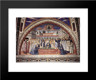 Funeral Of St. Augustine:  Modern Black Framed Art Print by Benozzo Gozzoli