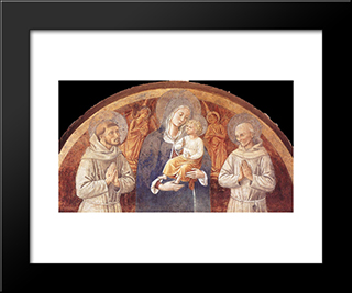 Madonna And Child Between St. Francis And St. Bernardine Of Siena:  Modern Black Framed Art Print by Benozzo Gozzoli