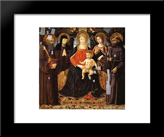 Madonna And Child Enthroned Among St. Benedict, St. Scholastica, St. Ursula And St. John Gualberto:  Modern Black Framed Art Print by Benozzo Gozzoli