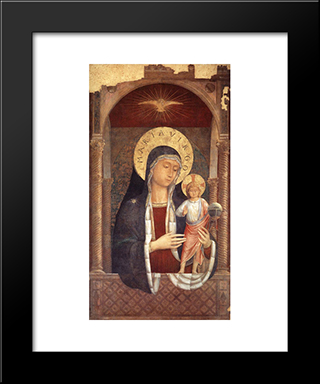 Madonna And Child Giving Blessings:  Modern Black Framed Art Print by Benozzo Gozzoli