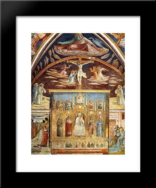 Madonna And Child Surrounded By Saints:  Modern Black Framed Art Print by Benozzo Gozzoli