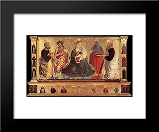 Madonna And Child With Sts John The Baptist, Peter, Jerome, And Paul:  Modern Black Framed Art Print by Benozzo Gozzoli