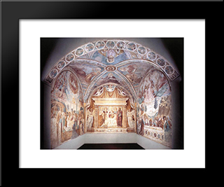 Overall View Of The Tabernacle Of The Madonna Delle Tosse:  Modern Black Framed Art Print by Benozzo Gozzoli