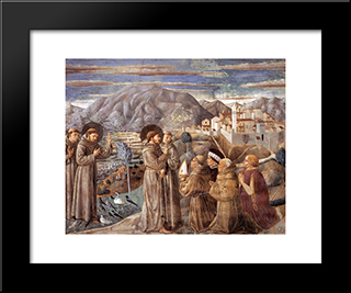 Preaching To The Birds And Blessing Montefalco:  Modern Black Framed Art Print by Benozzo Gozzoli