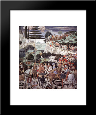 Procession Of The Oldest King:  Modern Black Framed Art Print by Benozzo Gozzoli