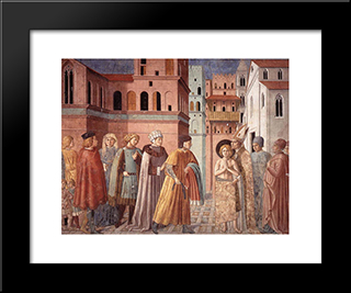 Renunciation Of Worldly Goods And The Bishop Of Assisi Dresses St. Francis:  Modern Black Framed Art Print by Benozzo Gozzoli