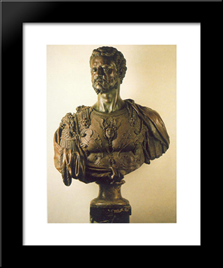 Bust Of Cosimo I:  Modern Black Framed Art Print by Benvenuto Cellini