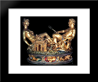 Cellini Salt Cellar:  Modern Black Framed Art Print by Benvenuto Cellini