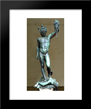 Perseus With The Head Of Medusa:  Modern Black Framed Art Print by Benvenuto Cellini