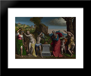 A Pagan Sacrifice:  Modern Black Framed Art Print by Benvenuto Tisi
