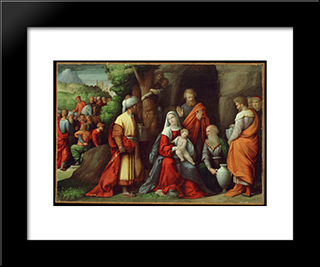 Adoration Of The Magi:  Modern Black Framed Art Print by Benvenuto Tisi