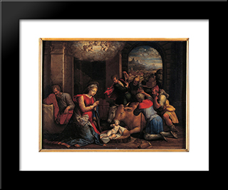 Adoration Of The Sheperds:  Modern Black Framed Art Print by Benvenuto Tisi
