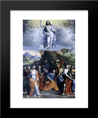 Ascension Of Christ:  Modern Black Framed Art Print by Benvenuto Tisi
