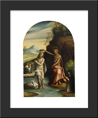 Baptism Of Christ:  Modern Black Framed Art Print by Benvenuto Tisi