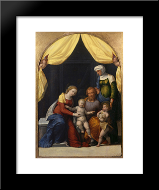 Holy Family With The Infant Saint John And Saint Elizabeth:  Modern Black Framed Art Print by Benvenuto Tisi