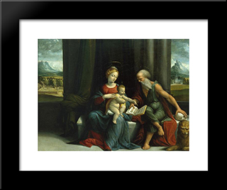 Madonna And Child And St Jerome:  Modern Black Framed Art Print by Benvenuto Tisi