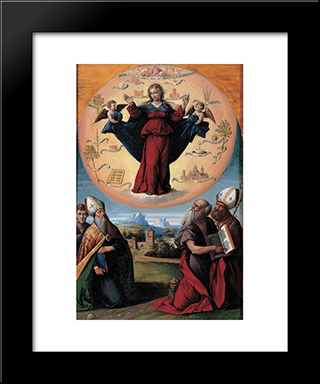 Madonna In Glory And Holy Hones:  Modern Black Framed Art Print by Benvenuto Tisi