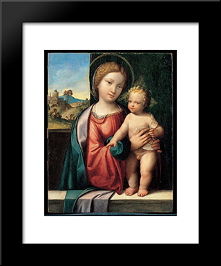 Madonna With The Child:  Modern Black Framed Art Print by Benvenuto Tisi