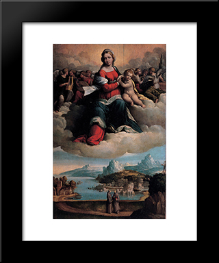 Madonna With The Child In Glory And Holy Ones:  Modern Black Framed Art Print by Benvenuto Tisi