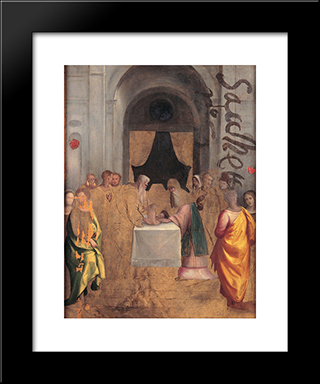 Presentation At The Temple:  Modern Black Framed Art Print by Benvenuto Tisi