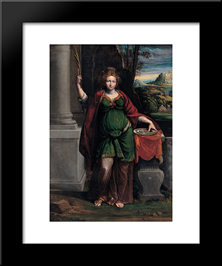 Saint Lucy:  Modern Black Framed Art Print by Benvenuto Tisi