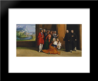 Saint Nicholas Of Tolentino Reviving A Child:  Modern Black Framed Art Print by Benvenuto Tisi