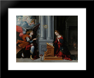 The Annunciation:  Modern Black Framed Art Print by Benvenuto Tisi