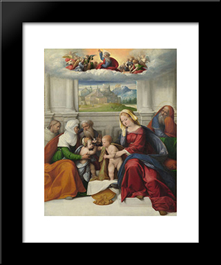 The Holy Family With Saints:  Modern Black Framed Art Print by Benvenuto Tisi