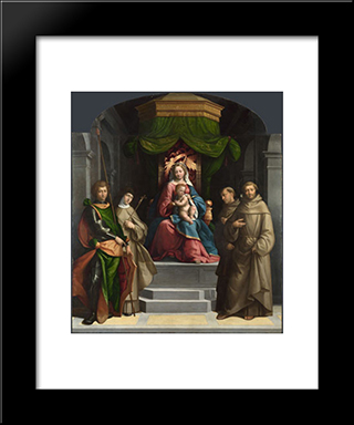 The Madonna And Child Enthroned With Saints:  Modern Black Framed Art Print by Benvenuto Tisi
