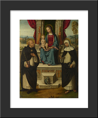 The Virgin And Child With Saints:  Modern Black Framed Art Print by Benvenuto Tisi