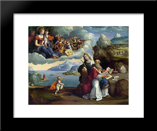 The Vision Of St. Augustine:  Modern Black Framed Art Print by Benvenuto Tisi