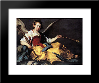 A Personification Of Fame:  Modern Black Framed Art Print by Bernardo Strozzi