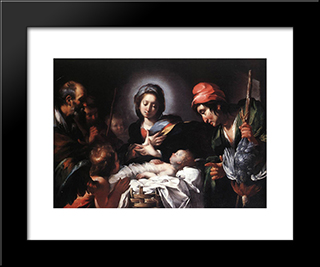 Adoration Of The Shepherds:  Modern Black Framed Art Print by Bernardo Strozzi