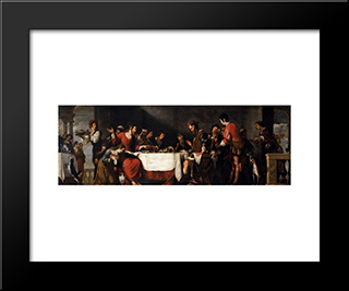 Banquet At The House Of Simon:  Modern Black Framed Art Print by Bernardo Strozzi