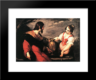 Christ And The Samaritan Woman:  Modern Black Framed Art Print by Bernardo Strozzi