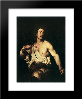 David With The Head Of Goliath:  Modern Black Framed Art Print by Bernardo Strozzi