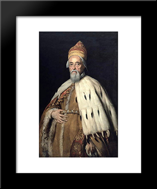 Doge Francesco Erizzo:  Modern Black Framed Art Print by Bernardo Strozzi