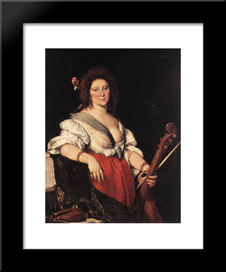 Gamba Player:  Modern Black Framed Art Print by Bernardo Strozzi