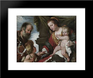 Holy Family With St. John Baptist:  Modern Black Framed Art Print by Bernardo Strozzi