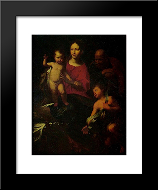 Holy Family With St. John The Baptist:  Modern Black Framed Art Print by Bernardo Strozzi
