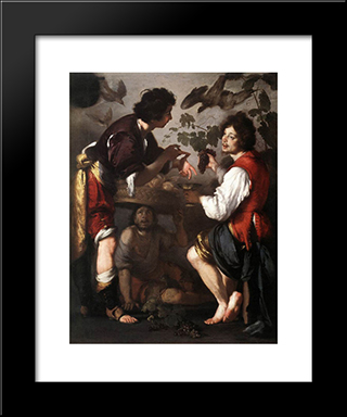 Joseph Telling His Dreams:  Modern Black Framed Art Print by Bernardo Strozzi