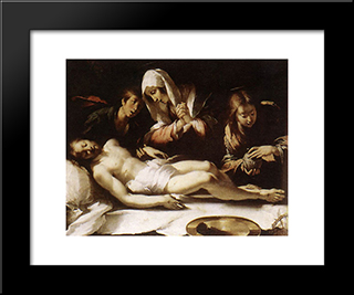 Lamentation Over The Dead Christ:  Modern Black Framed Art Print by Bernardo Strozzi